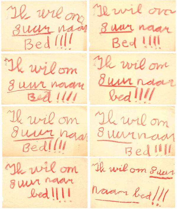'ik wil om acht uur naar bed'